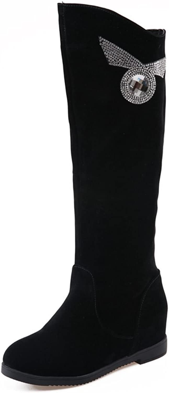DecoStain Women's Retro Rhinestone Solid Slip On Mid Heel Boots