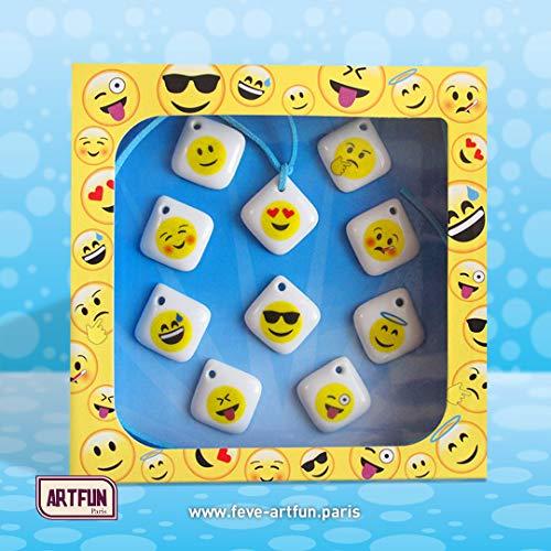 ArtFun - Emoji Emoticon - 10 fèves galette porcelaine Epiphanie Premium