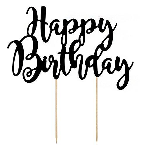 Kuchendeko Tortendeko Happy Birthday Geburtstag Schirftzug schwarz ca. 20 x 23 cm