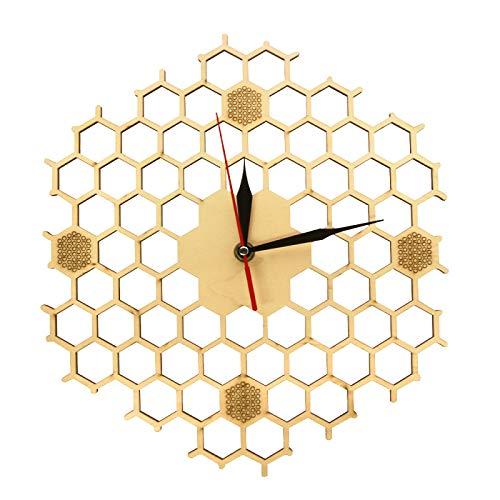 Reloj de Pared Reloj de Pared de Madera Inspirado en Panal con Reloj Minimalista de Barrido silencioso sin tictac Reloj Hexagonal de Cocina Decoración de Pared Regalo de los Amantes de la Abeja
