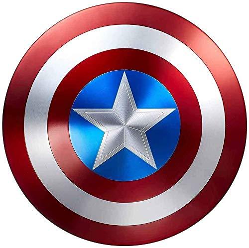 ABDOMINAL WHEEL 60Cm Escudo Capitan America Metal Edición 75 Aniversario Aleación de Aluminio Avengers Cosplay Escudo,1:1 Escudo de Vestuario de Capitán América,Réplica de Marvel Prop A,60CM/23.6INCH