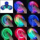 NKDD Trasparente LED Light Fidget Spinner Hand Top Spinner edc Spiner Kids Adult Toy Light Fidget Spinner Blue
