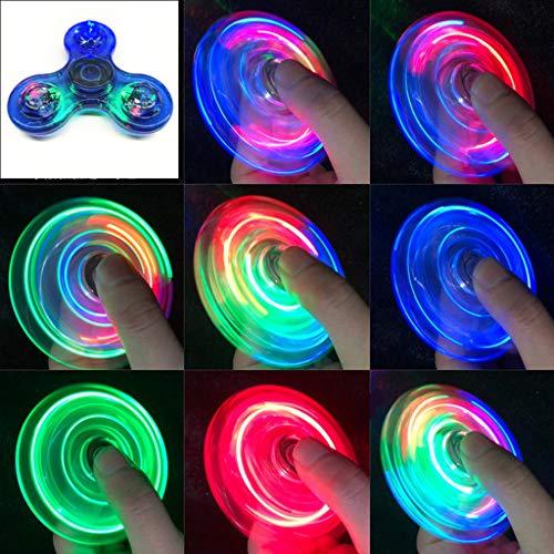 QERMULA Luz LED Transparente Fidget Spinner Mano Top Spinner EDC Spiner Niños Adultos Juguete Light Fidget Spinner Azul
