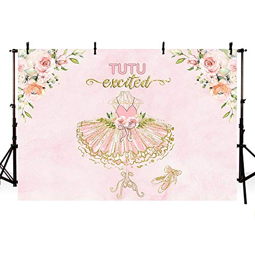 MEHOFOTO Tutu Excited Girl Baby Shower Party Backdrop Pink Floral Gold Glitter Ballerina Birthday Photography Background Photo Booth Banner for Cake Table Supplies 7x5ft