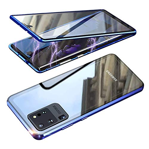 Anyos Compatible Samsung Galaxy S20 Ultra 5G Case, Magnetic Case Series Ultra-Thin Adsorption Metal Frame with Tempered Glass Cover Built-in Screen Protector (Blue)