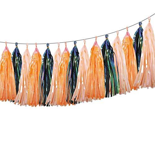 ZYM 10 Pc Paper Iridescent Tassel Garland Paper Banner for Mermaid Baptism Wedding Birthday DIY Party Hanging Decor (Color : Dark Blue)