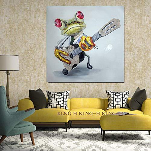 mmzki Günstige Malerei & Kalligraphie Abstrakte Malerei handgemalte Cartoon Tiere Öl Leinwand Malerei glücklicher Frosch spielt Gitarre Ölgemälde-60cmx60cm_KH1