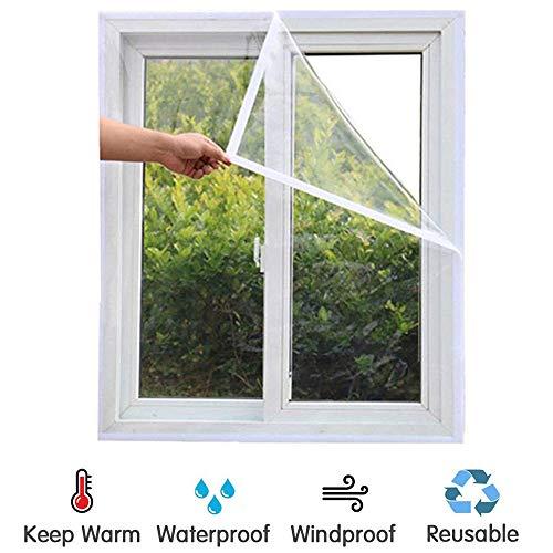 roroz PVC-Fenster Isolierfolie Transparent, Wind- Und Staubdichtes WäRmedäMmung WäRmeschutzfolie Für Den Winter, 21 GrößEn, Einheitsgröße 4 Stück,White-1.6x1.4m