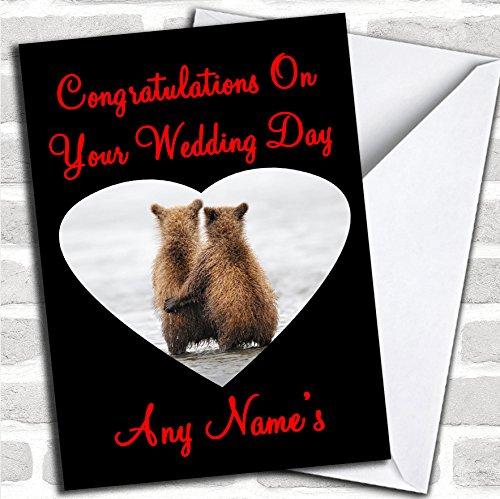 Knuffelberen Huwelijksdagkaart met envelop, volledig gepersonaliseerd, snel en gratis verzonden