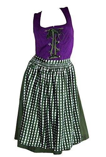 Sheego Dirndl Trachten Kleid lila grün Baumwolle Übergröße (46)