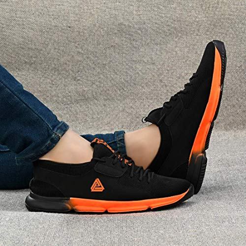BADLAV Men's White_Black Running Walking Sneakers (Orange_Tr, Numeric_6)