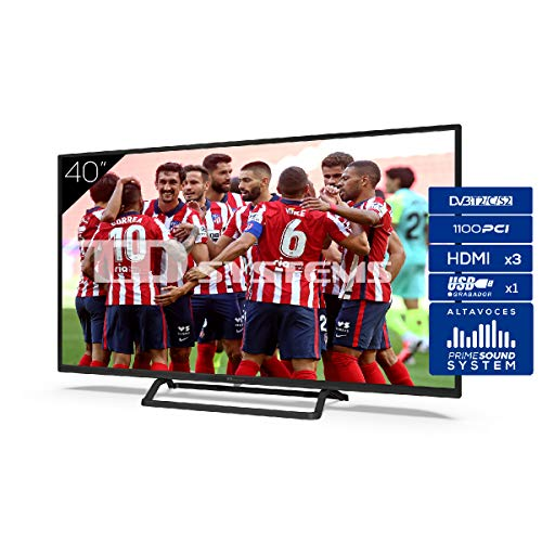 TD Systems Televisor 3X HDMI, VGA, USB, 1100 PCI Hz, Grabador Reproductor, DVB-T2/C/S2 Modo Hotel - K40DLX11F 40 Pulgadas