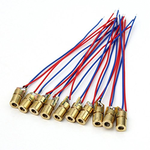 PIXNOR 10ST RedDot Laserdiode Modul Heads - 5Volt 5mW 650nm