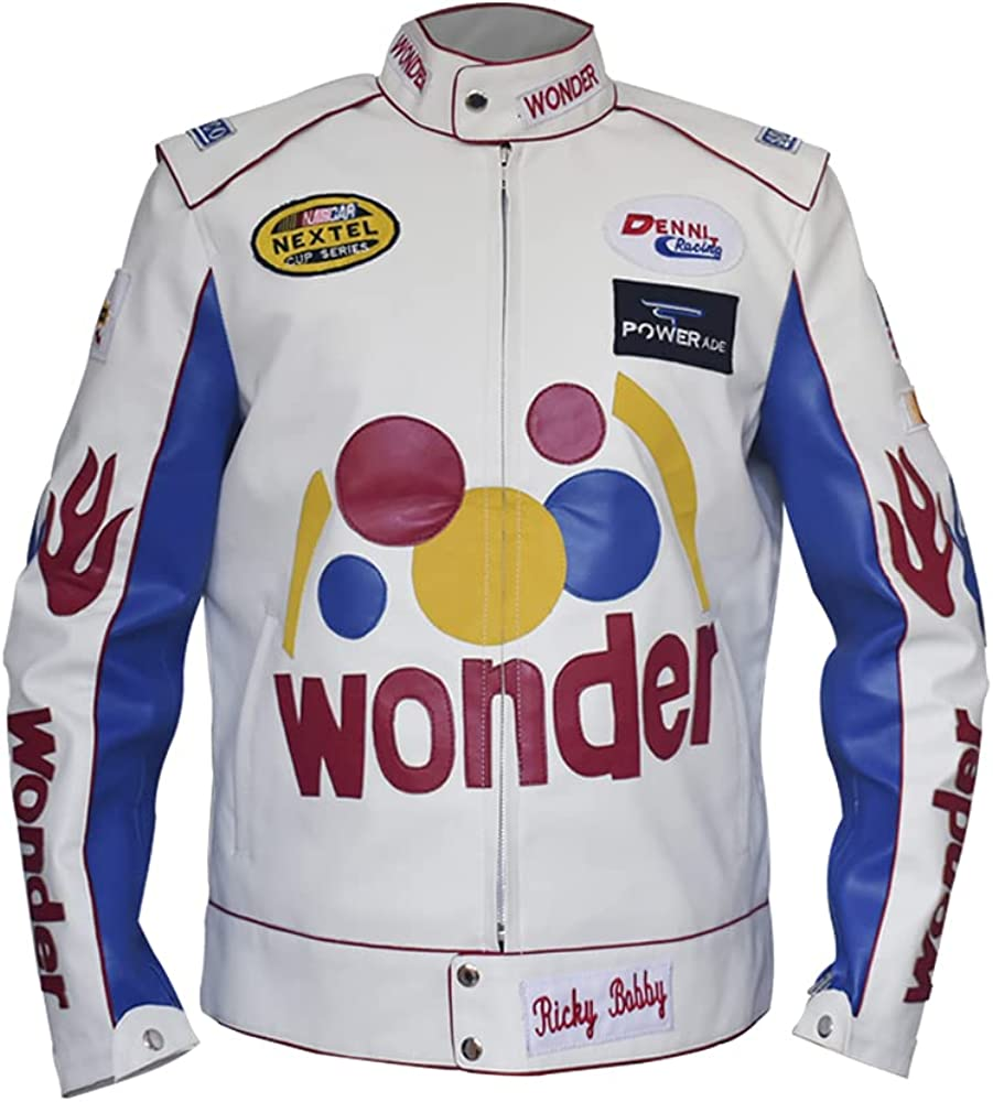 Mens Ricky Bobby Racing Max 48% OFF White Motorcycle Jac Leather Faux Wonder Ranking TOP13