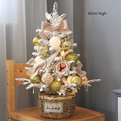 Decoraciones de mostrador para el hogar con luz led, decoración interior para festividades con canasta pequeña de bolas y flores, con pilas iluminadas para decoración navideña, decoración del hogar, c