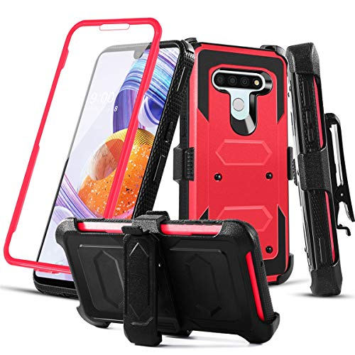RioGree Phone Case for LG Stylo 6 with Belt Clip Screen Protector Kickstand Heavy Duty Durable for Women Men Girls Boys (Red)
