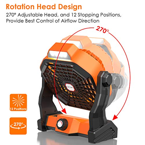 518LYxk3wPL - Portable Camping Fan with LED Light, Rechargeable Outdoor Fans-Various Speeds, 3 Brightness and Rotatable Head, 5200mAh Battery Operated Fan for Camping/Tent/BBQ, Hurricane & Power Outages Emergency