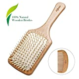 Nipoo Natural Wooden Paddle Detangling Hair Brush for Women, Men and Kids - Designed for All Hair Types - Wooden Comb and Gift Bag Included