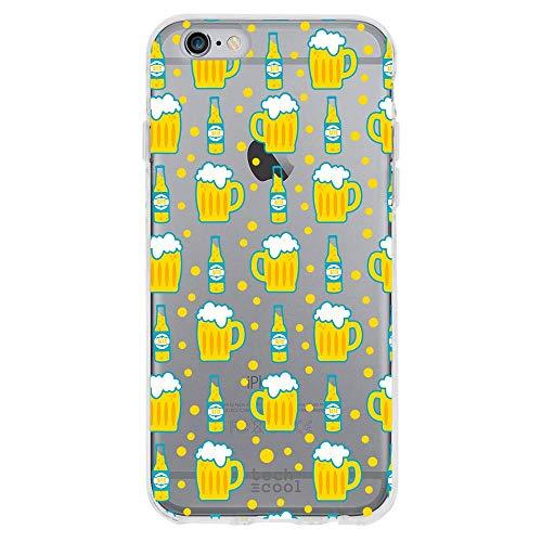 Funnytech® Funda Silicona para iPhone 6 / 6S [Gel Silicona Flexible, Diseño Exclusivo] Cervezas Transparente