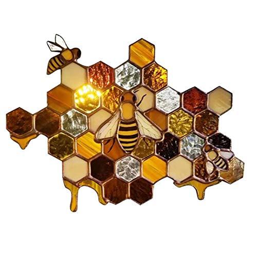 luminiu Autocollant De Fenêtre en Nid d'abeille, Autocollants De Fenêtre Autocollant PVC, Autocollant De Ruche d'abeille Décoration De Papier Peint Motif De Dessin Animé Stickers