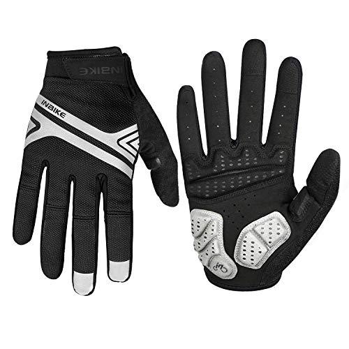 INBIKE Mountain Bike Gloves for Men, Screen Touch Cycling Gloves MTB Paded Full Finger Black S