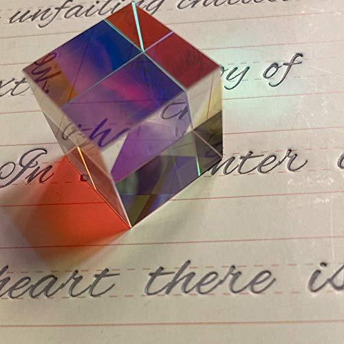 CASLONEE Color Cube 20mm X-Cube K9 Glass Prism Dispersion Square Prisms as Toys and Desktop/Bedroom/Kitchen/Bookshelf Decor 1 PCS