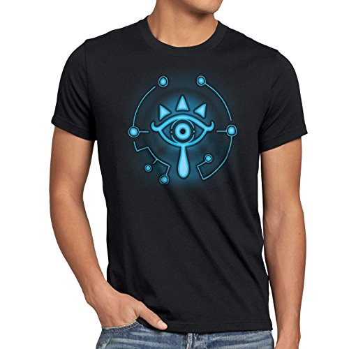 A.N.T. Sheikah Herren T-Shirt wild Switch The Breath of SNES Zelda Ocarina link, Größe:L;Farbe:Schwarz