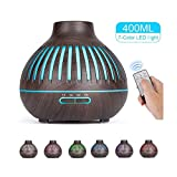 ERTYU Remote Control Air Humidifier 400ml Ultrasonic Essential Oil Diffuser Wood Grain Aroma Diffuser with 7 Color Lights,Waterless Auto Off for Home Office Baby RoomDeep Wood Grain-EK Plug