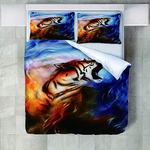 JNBGYAPS 3D Effect Printed duvet cover Tiger roar Bedding set with Pillocases (with Zipper Closure) Soft Microfiber Quilt Cover Single200X200cm