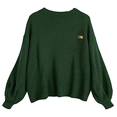 ZAFUL Women's Casual Loose Knitted Sweater Lantern Sleeve Crewneck Fashion Pullover Sweater Tops Dark Red by
