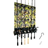 Fishing Rod Rack Vertical Wall Storage Sturdy Polyester Fibre Material can Protect Rods and Reels from Scratch- Best for the Garage Cabins and Basements Storage Shed use