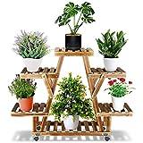 Ibnotuiy Wood Plant Stand with Wheels Tiered Corner Rolling Plant Flower Pots Holder Rack Display Indoor Outdoor for Patio Corner Lawn Garden Yard