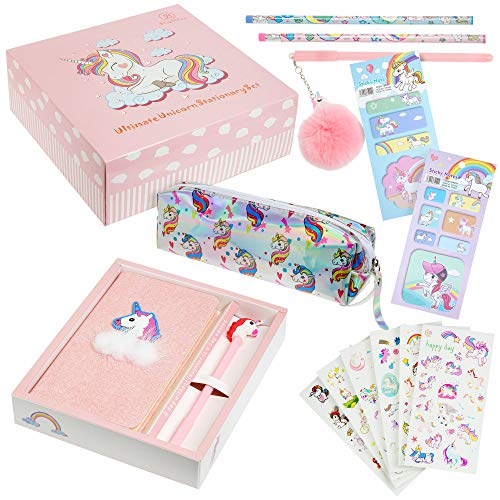 Brightzen Unicorn Stationery Set – Unicorn Notebook, Pens, Pencils, Pencil Case, Pocket Notepad and Stickers, Great Birthday Gifts for Girls Age 4 5 6 7 8 9 10 11 years old