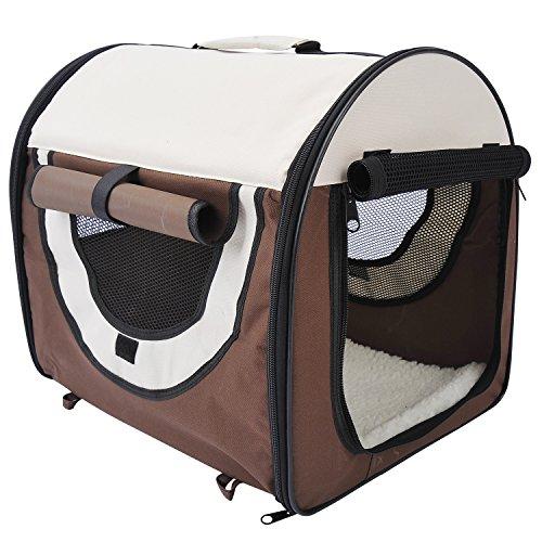 PawHut D1-0100 faltbare Transportbox für Haustier, kaffeebraun/creme - 4