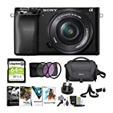Sony Alpha a6100 APS-C Mirrorless Camera with 16-50mm Lens Bundle (8 Items)
