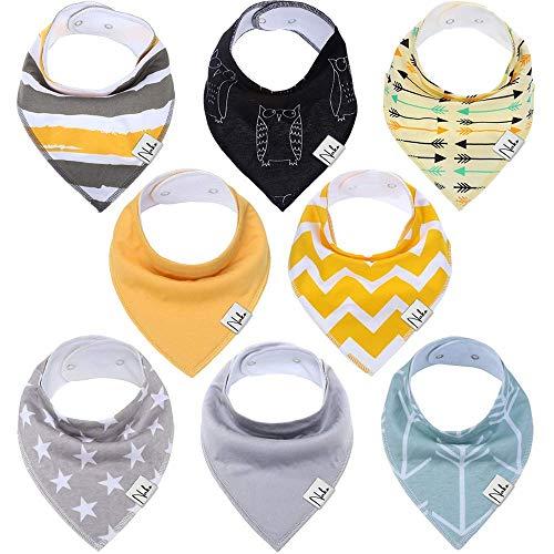 Baby Dreieckstuch von NAKO Lätzchen 8er Saugfähig Weich Spucktuch Lätzchen Baumwolle Halstücher mit Druckknöpfen für Baby Jungen und Mädchen Kleinkinder (Junge)