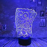 orangeww 3d illusion lampe/lumière de nuit 3d / 7 couleurs changeantes tactile nuit lumière/garçon jouets d'enfant lumière/cadeaux d'anniversaire/Bob l'éponge