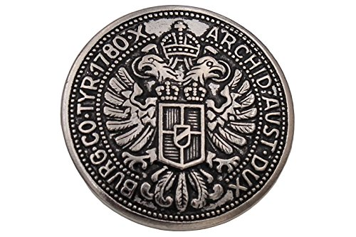 Knöpfe Silber glänzend geschwärzt Metall Münze Adler Trachten Trachtenjacke Dirndl Made in Germany (6 Stück) (23mm)