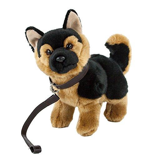 Teddys Rothenburg Kuscheltier Schäferhund mit Leine stehend braun/schwarz 28 cm Plüschschäferhund