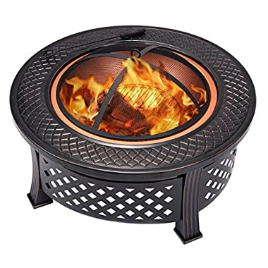 Giantex 32  Round Metal Firepit Patio Garden Stove Fire Pit Outdoor Brazier Black(32  18 (H) Round)