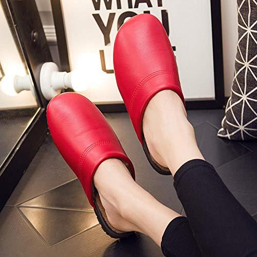 Nwarmsouth Zapatillas Slip On Mules para Hombre,Calzado Interior de algodón Antideslizante, Pantuflas de Piso de Invierno-Red_37-38,Zapatillas de casa de Felpa de Felpa para Mujer