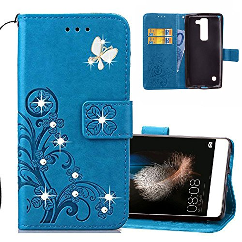 EMAXELERS LG Spirit 4G Hülle Glitzer Bling Diamante Schmetterling Clover PU Leder Handy Schutzhülle Ledertasche für LG Spirit 4G LTE H440N C70,Diamond Blue Clover with Butterfly