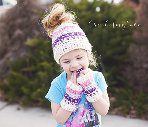 Colorwork Bun hat and mitts pattern: crochet pattern