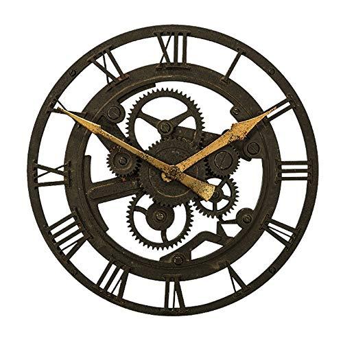 Everyday home Salon rond américain horloge murale art industrie créative rétro nostalgie engrenage creux pendentif (Couleur : Antique and old)