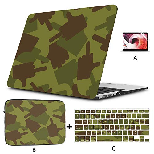 Mac Air Cover Army Fuck Military Camouflage Texture Macbook Pro Retina Case Hard Shell Mac Air 11'/13' Pro 13'/15'/16' With Notebook Sleeve Bag For Macbook 2008-2020 Version
