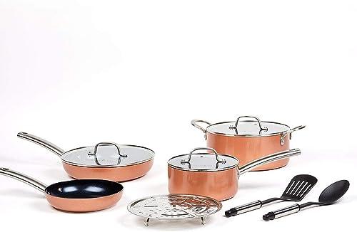2021 Copper Chef Black popular Diamond 10-Piece Non-Stick Induction Cookware Set, high quality Stackable, Pots and Pans outlet sale