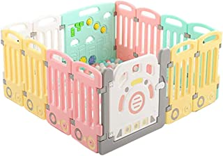 ZXRET Children S Playpen  Portable Baby Fence  Child Safety Activity Center Home Indoor Plastic Toddler Crawling Playground  14 Activity Panels