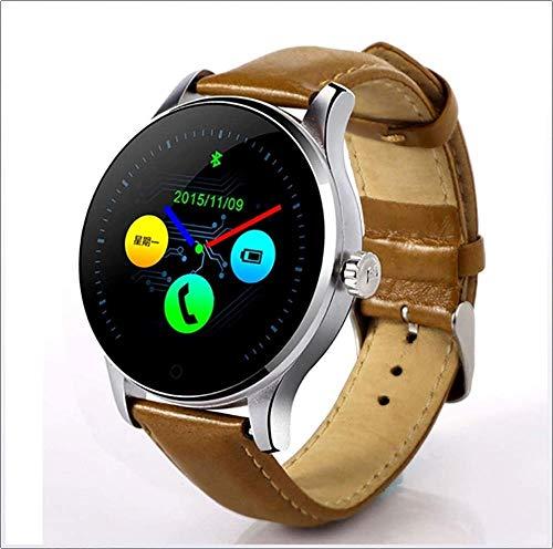 hwbq Reloj inteligente clásico de metal con monitor de frecuencia cardíaca, podómetro, sincronización de llamadas telefónicas y mensajes, reloj para teléfono Android iOS, color negro y marrón