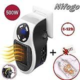 Nifogo Mini Heater Estufa Eléctrica - Portatil Calentador 500 W con Termostato Ajustable Tiempo Programable de 12 Horas Cierre Automático, para Hogar Oficina Baño (White, 500W)