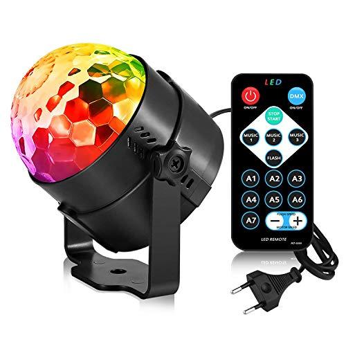 AOMEES Discokugel Party Lichts Disco-Kugel LED Blitzleuchten Sound Aktiviert Tanzlicht Bühne DJ-Beleuchtung für Zuhause Kinder Geburtstagspartys Festival Weihnachtsdekoration Karaoke Bar Club